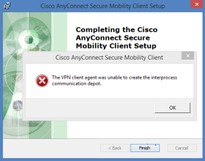 Cisco AnyConnect Install Error