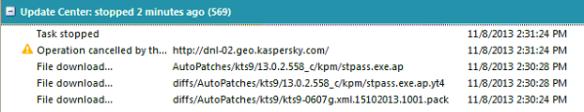 Kasperksy Update Error
